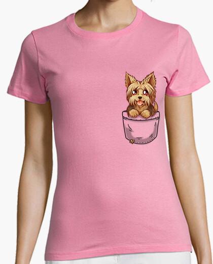Camiseta bolsillo perrito yorkshire yorkshire lindo - camisa de mujer