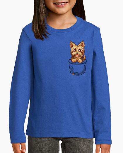 Ropa infantil bolsillo perrito yorkshire yorkshire lindo - camisa de niños