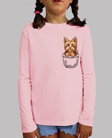 bolsillo perrito yorkshire yorkshire lindo - camisa de niños