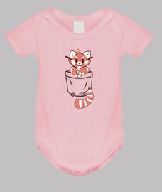 bolsillo rojo panda - ropa de bebé