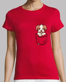 bolsillo shih tzu - camisa de mujer