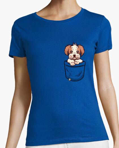 Camiseta bolsillo shih tzu - camisa de mujer