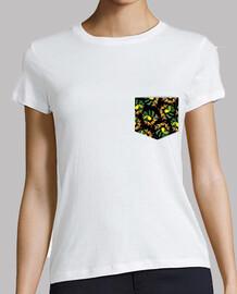 Bolsillo Tucán Tropical - Mujer, manga corta, blanca, calidad premium
