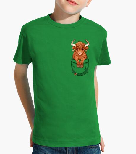 Ropa infantil bolsillo vaca escocesa linda de la montaña - camisa de los niños