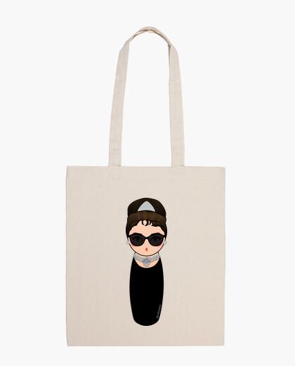 Bolsa Bolso de tela Kokeshi Audrey con gafas