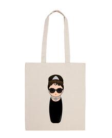 Bolso de tela Kokeshi Audrey con gafas
