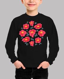 Bonitas flores con pétalos de color ros