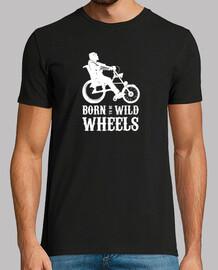 Born to be Wild Wheels dibujo blanco. Camiseta manga corta hombre