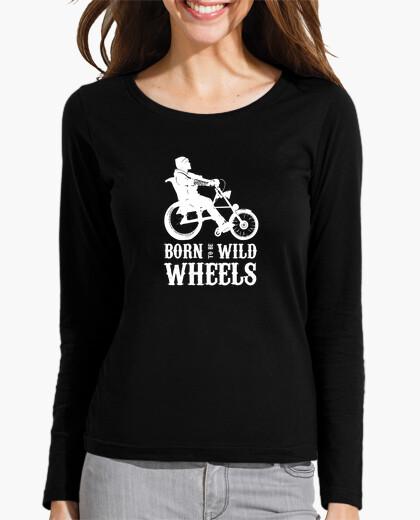 Born to be Wild Wheels dibujo blanco. Camiseta manga larga mujer