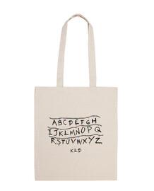 borsa in tessuto, straniero alfabeto