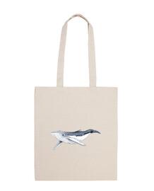 borsa neonato balena yubarta - borsa tela 100 cotone