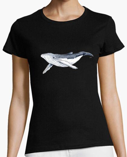Tee-shirt bossu shirt bébé baleine - femme, manches courtes, noir, qualité prime