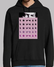 bowie man, hooded sweater, black