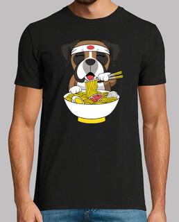 Boxerhund der Ramen isst