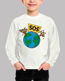 boy shirt: sos planet earth