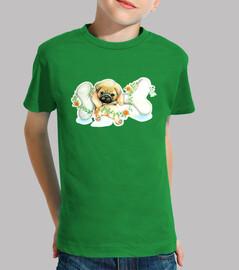 boy, short manga design pug carlino dog with bone