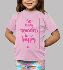 boy, short sleeve, so many reasons to be happy pink