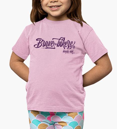 Abbigliamento bambino brave ciclisti brave scrivono rosa