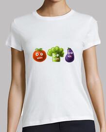 brócoli tomate y berenjena divertida verduras de dibujos animados