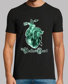 Broken Heart,Rosa de la muerte tatuaje camiseta hombre manga negra