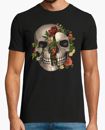 Broken skull with flowers t-shirt