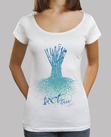 brosses d'arbres / femme, col large et coupe ample, blancaa
