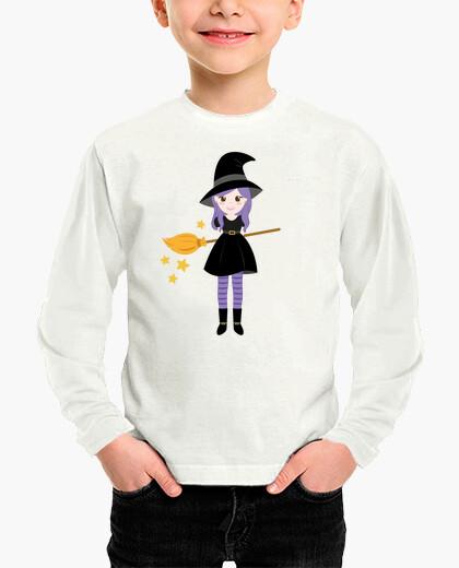 Ropa infantil Bruja con escoba camiseta...