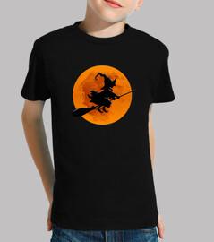 Bruja en Escoba con Luna Llena Camiseta para Halloween