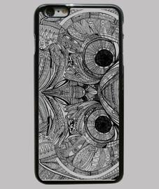 Búho Zentangle - Funda iPhone 6 Plus, negra