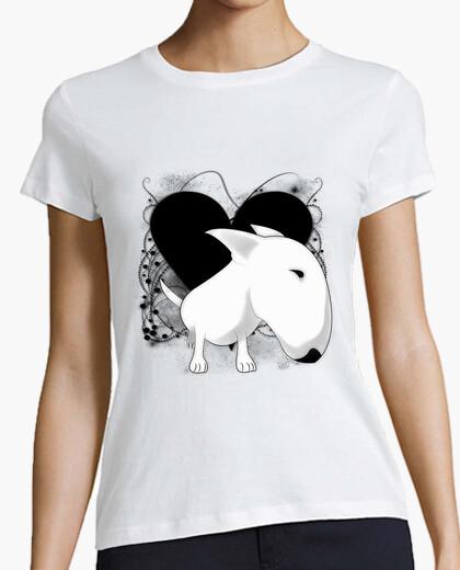 T-shirt bull terrier cuore vintage