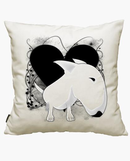 Housse de coussin bull terrier de coeur vintage