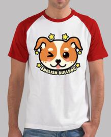 bulldog anglais kawaii chibi face - baseball homme