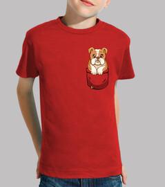 bulldog anglais mignon de poche - chemise enfant