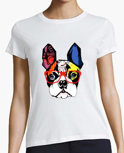 Camiseta Bulldog Francés con gafas rojas