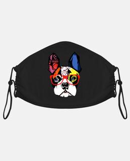 bulldog francese con occhiali rosse