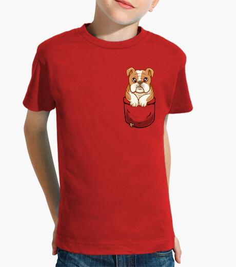 Ropa infantil bulldog inglés lindo del bolsillo - camisa de los niños