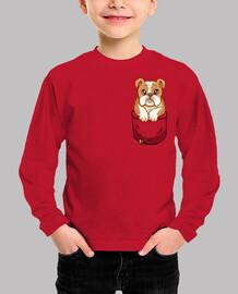bulldog inglés lindo del bolsillo - camisa de los niños