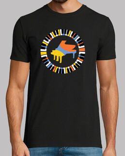 buntes kreisförmiges klavier t-shirt