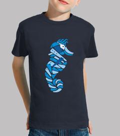 caballito de mar abstracto azul metaliz