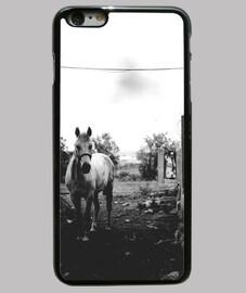 Caballo blanco,Funda iPhone 6 Plus, negra
