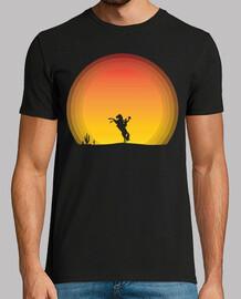 Caballo de manos con puesta de sol