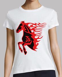 Caballo Llamas Rojo y Negro