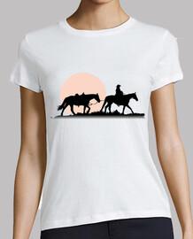 Caballos y Jinete con puesta de sol
