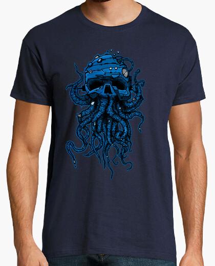 Camiseta cabeza pulpo azul