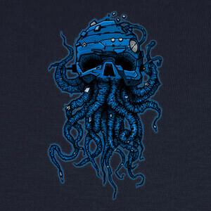 Camisetas cabeza pulpo azul