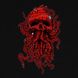 Camisetas cabeza pulpo rojo