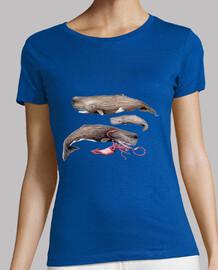 Cachalotes Mujer, manga corta, azul cielo, calidad premium