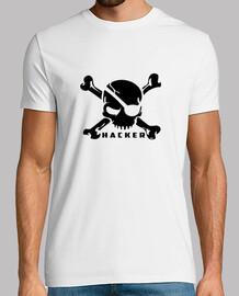 Calavera Hacker. camiseta blanca chico.