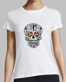 Calavera Mexicana, Mujer, manga corta, blanca, calidad premium