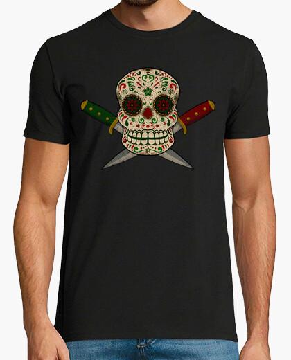 Camiseta Calavera mexicana y puñales vintage desgastado